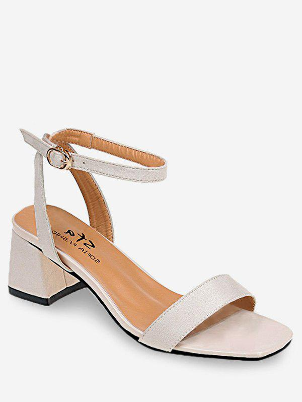 Chunky Heel Breathable Buckled Sandals - BEIGE 39