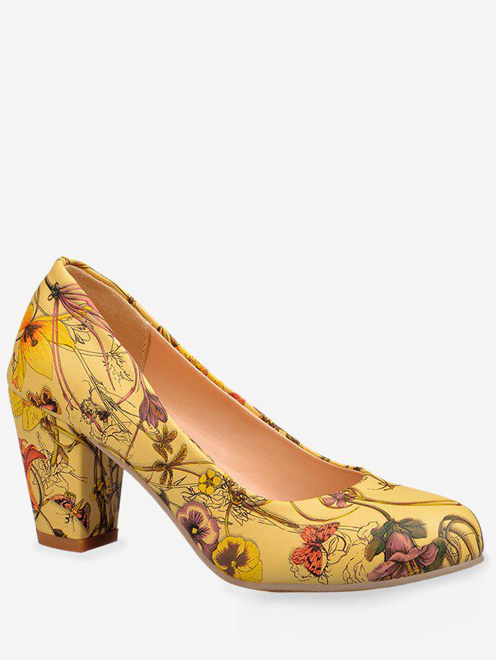 Plus Size Casual Flower Print Block Heel Pumps - YELLOW 39