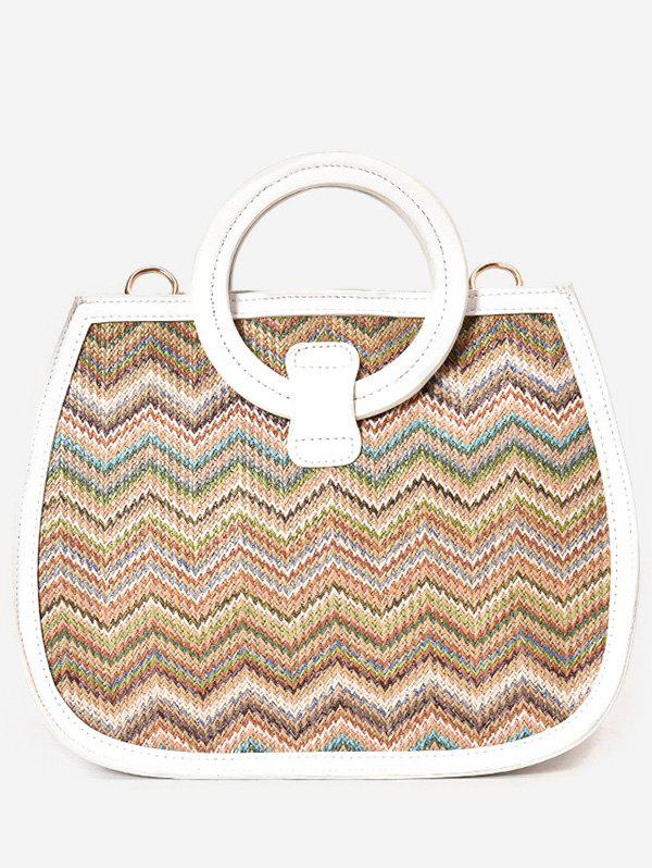 Vintage Vacation Style Straw Hand Bag - WHITE