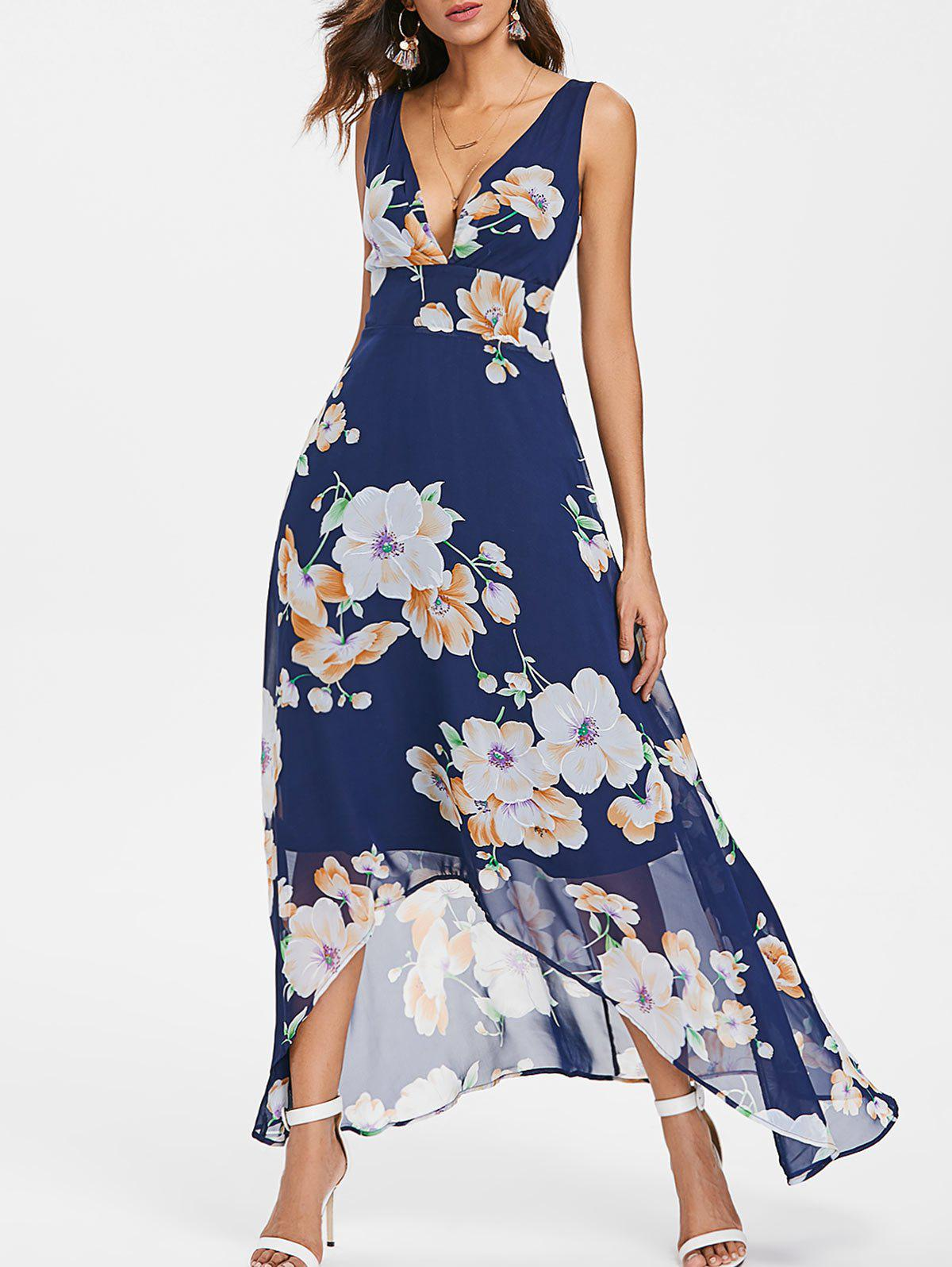 Empire Waist Long Flower Chiffon Dress - DEEP BLUE 2XL