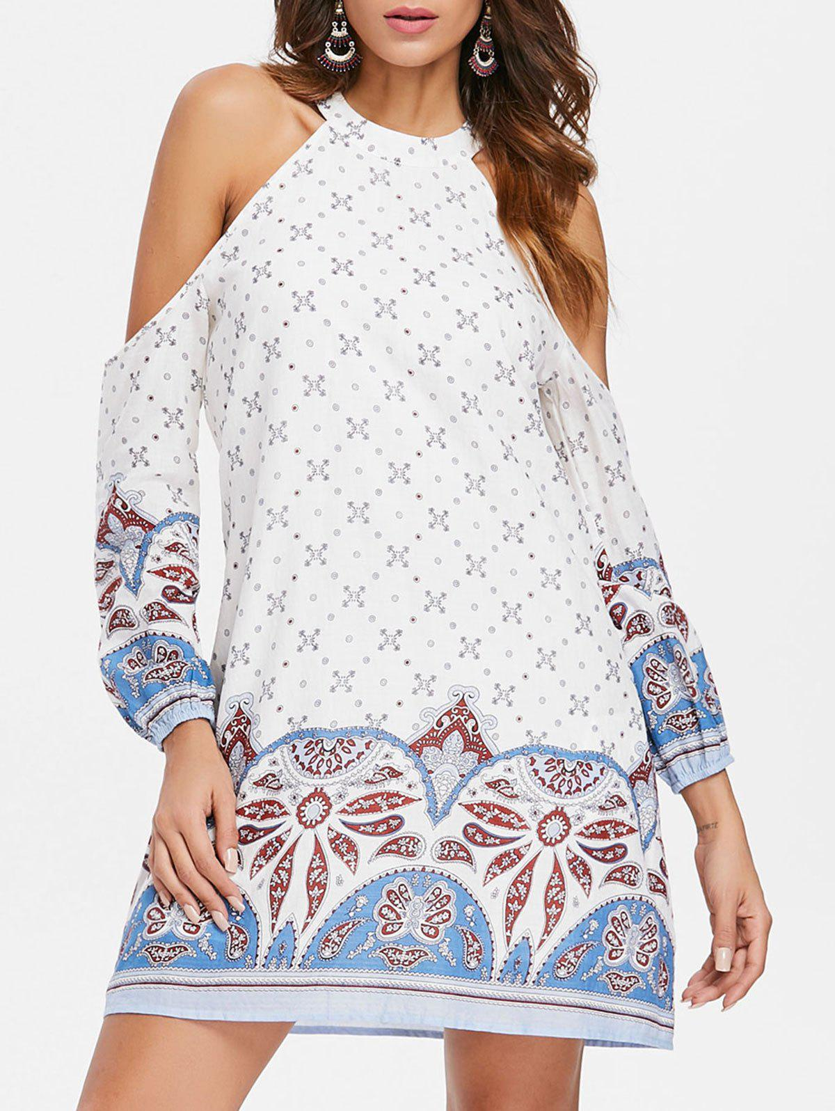 Paisley Tribal Print Cold Shoulder Shift Dress - MILK WHITE M