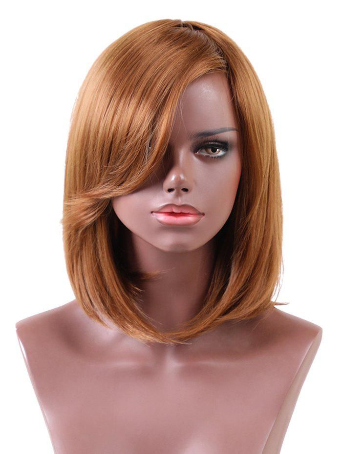 Short Inclined Bang Straight Bob Heat Resistant Synthetic Wig refreshing neat bang short bob straight heat resistant synthetic wig for women