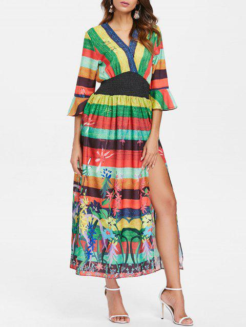 Stripe Floral High Slit Maxi Dress - multicolor L
