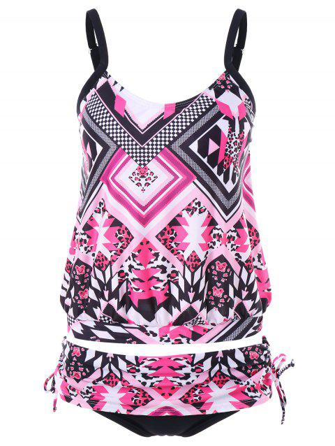 Geometric Leopard Print Tankini Set - multicolor 2XL