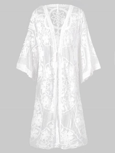 Drop Shoulder Flower Duster Cover Up Top - WHITE ONE SIZE