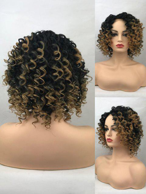 Short Inclined Bang Colormix Curly Lace Front Synthetic Wig - multicolor