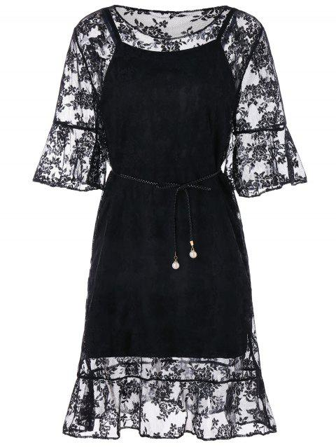 Flare Sleeve Drop Waist Lace Dress - BLACK L