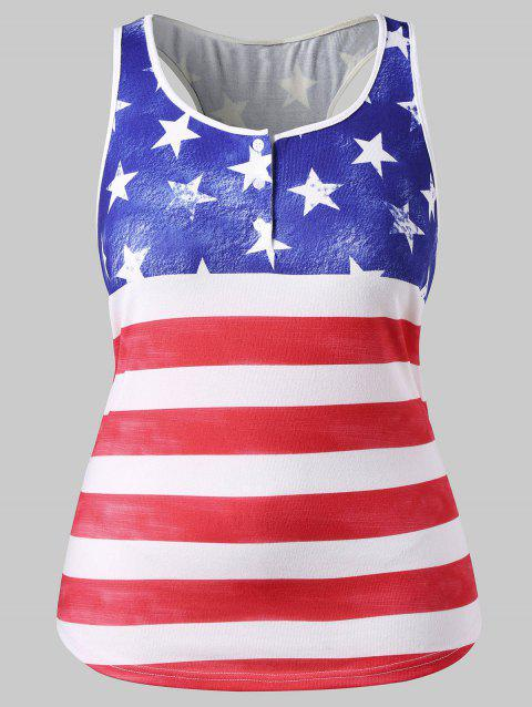 Plus Size American Flag Racerback Tank Top - FIRE ENGINE RED 5X
