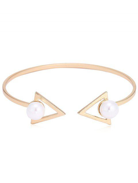 Double Faux Pearl Arrow Bangle Cuff Bracelet - GOLD