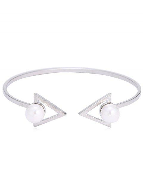 Double Faux Pearl Arrow Bangle Cuff Bracelet - SILVER