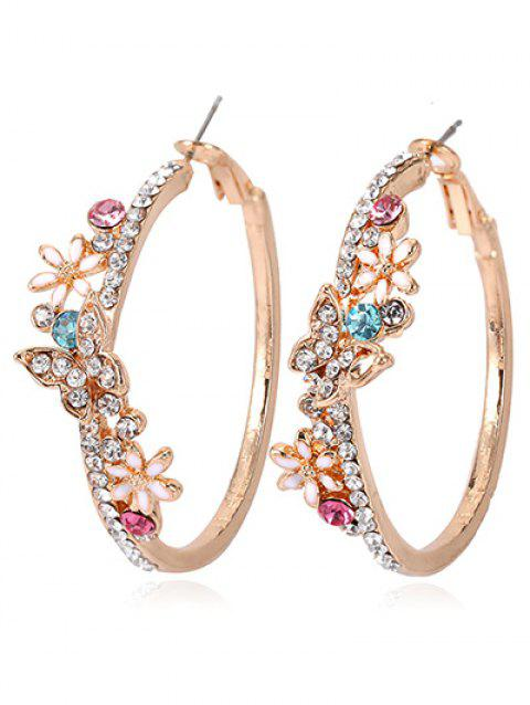 Boucles d'Oreilles Vintage Papillon Strass Incrusté - multicolor