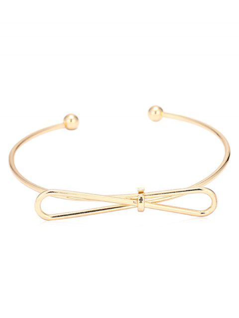 Bowknot Double Ball End Bangle Cuff Bracelet - GOLD