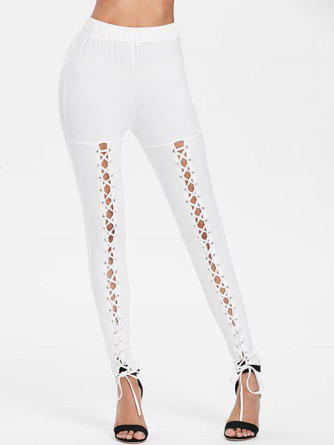 Lace Up High Waist Pants - MILK WHITE XL