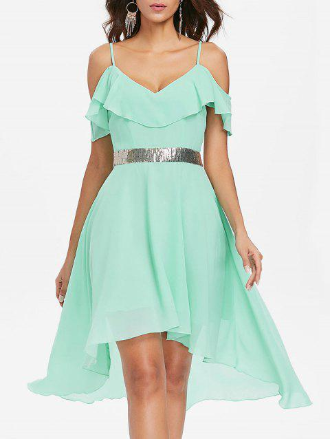 Cold Shoulder Chiffon High Low Flowy Dress - BLUE GREEN L