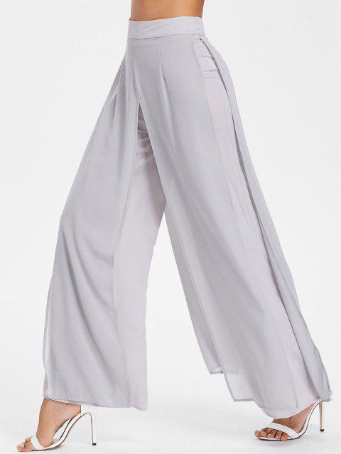 High Rise Overlay Palazzo Pants - LIGHT GRAY M