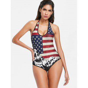 One Piece American Flag Skull Backless Swimwear - multicolor XL