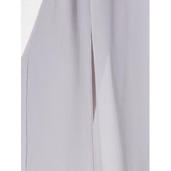High Rise Overlay Palazzo Pants - LIGHT GRAY L