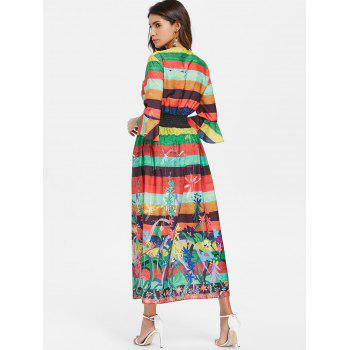 Stripe Floral High Slit Maxi Dress - multicolor 2XL