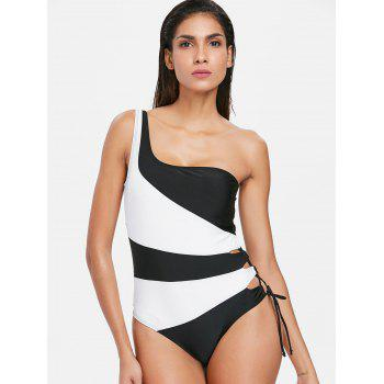 Hit Color One Piece Lace Up Swimwear - BLACK S
