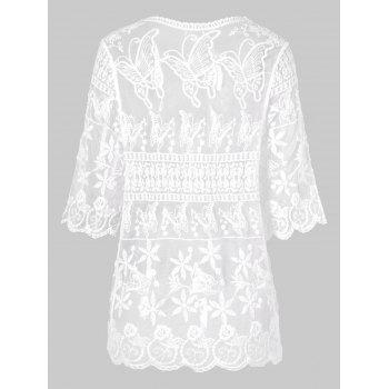 Open Front Butterflies Lace Cover Up - WHITE ONE SIZE