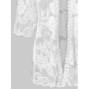Floral Pattern Open Front Lace Cover Up - WHITE ONE SIZE
