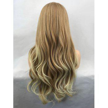 Long Side Bang Colormix Wavy Synthetic Lace Front Wig - multicolor