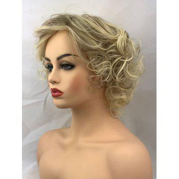 Short Inclined Bang Colormix Heat Resistant Curly Synthetic Wig - multicolor