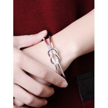 Knotted Decorative Wedding Party Cuff Bracelet - SILVER