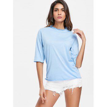 Half Sleeve Scalloped T-shirt - LIGHT BLUE XL