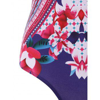 Floral U Backless One Piece Swimsuit - multicolor M