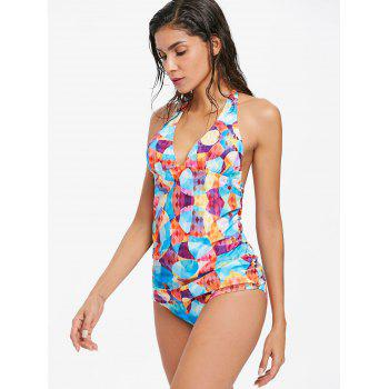 Geometric Ruched Side Tankini Set - ROYAL BLUE L