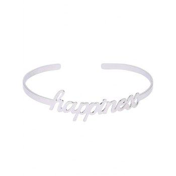 Carving Happiness Wedding Cuff Bracelet - SILVER