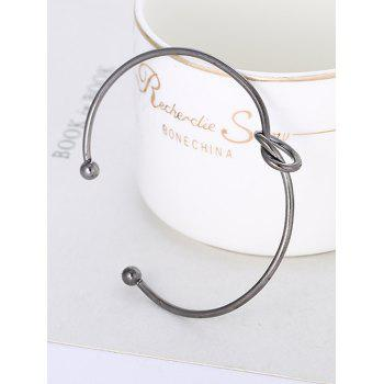 Vintage Knotted Double Ball End Cuff Bracelet - GUNMETAL