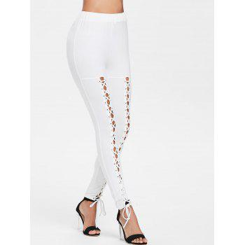 Lace Up High Waist Pants - MILK WHITE L