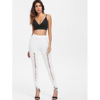 Lace Up High Waist Pants - MILK WHITE 2XL