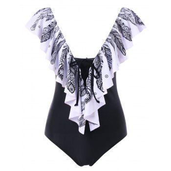 Feather Print Ruffle One Piece Swimsuit - BLACK 2XL