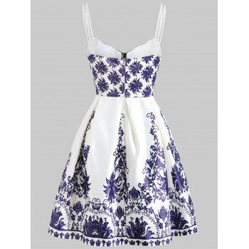 Cami Strap Vintage Printed Dress - WHITE S