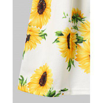 Sunflower Print Button Up A Line Cami Dress - WHITE S