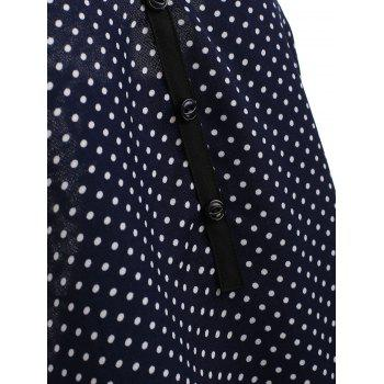 Front Buttons Polka Dot Tank Top - BLUE L