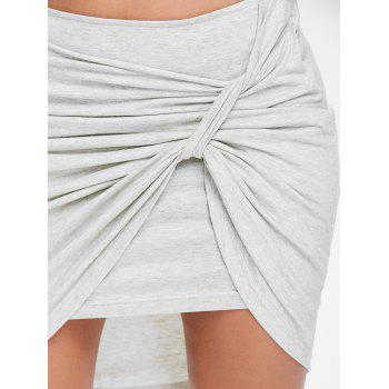 Crinkle Front Short Asymmetrical Skirt - LIGHT GRAY 2XL