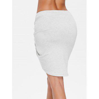 Crinkle Front Short Asymmetrical Skirt - LIGHT GRAY XL