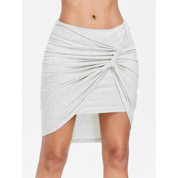 Crinkle Front Short Asymmetrical Skirt - LIGHT GRAY L