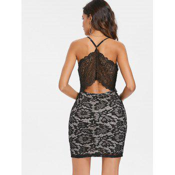 Cami Straps Slim Fit Lace Dress - BLACK M