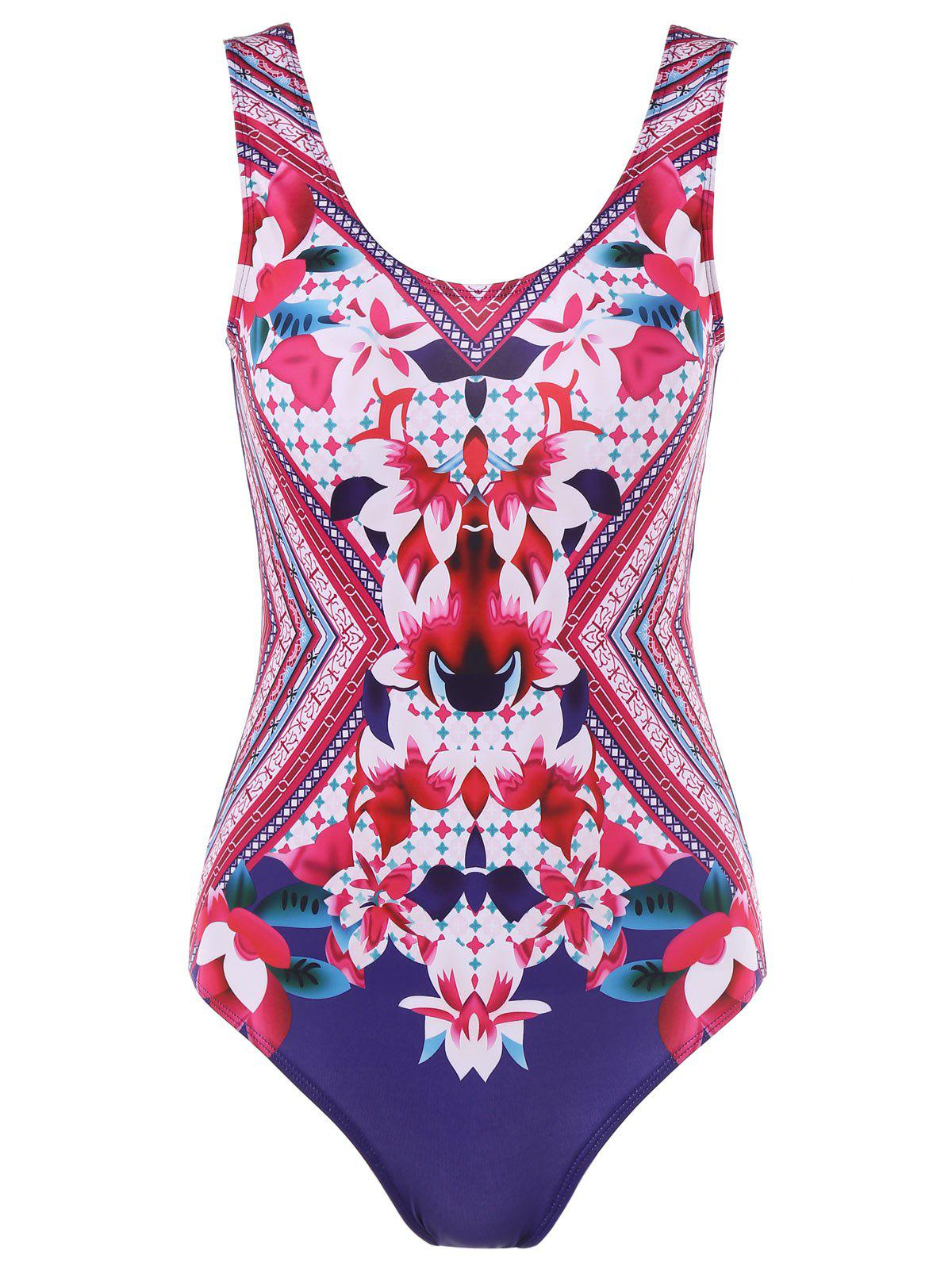 Floral U Backless One Piece Swimsuit - multicolor XL