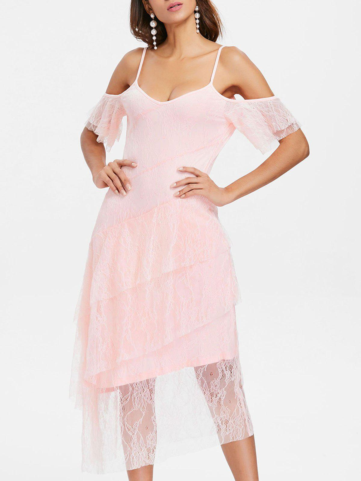 Flounce Sleeve Layered Cocktail Dress - LIGHT PINK M