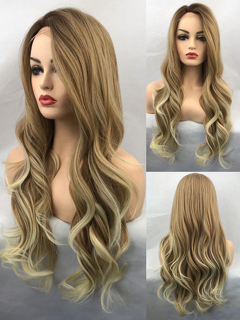 Long Side Bang Colormix Wavy Synthetic Lace Front Wig adiors colormix long side bang half braided wavy synthetic wig