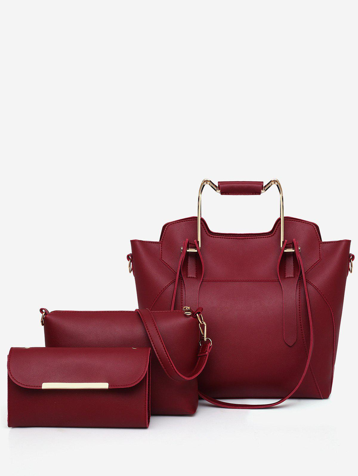 3 Pieces Leisure Metal Handle Chic Tote Bag Set - RED WINE