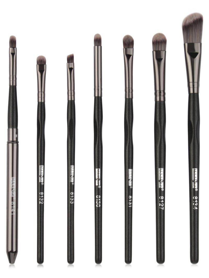 7Pcs Synthetic Fiber Hair Ultra Soft Eye Makeup Brush Set - BLACK