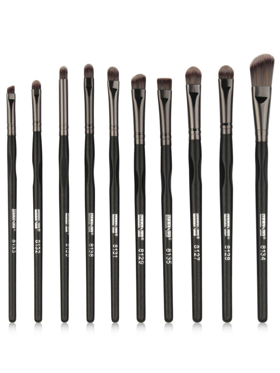 Image of 10Pcs Fiber Hair Eyeshadow Blending Eye Makeup Brush Kit