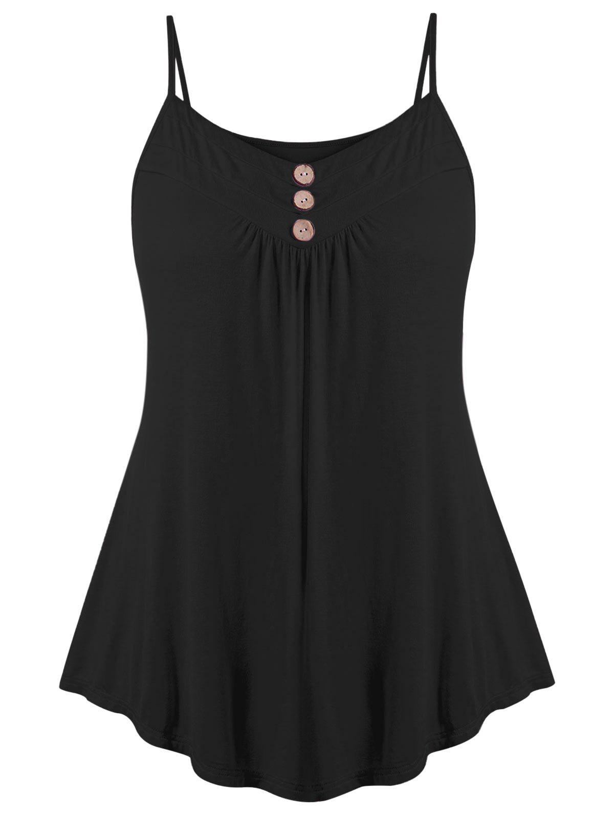Plus Size Button Decorated Tank Top - BLACK 5X